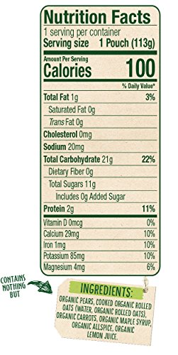 Sprout Organic Baby Food Pouches Stage 3 Sprout Baby Food, Pear Carrot Oatmeal with Maple, 4 Ounce (Pack of 6); USDA Organic, Non-GMO, Made with Whole Foods, No Added Sugar by Sprout (Image #3)