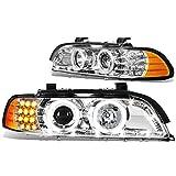 BMW E39 5-Series Pair of Halo Projector Headlight + LED DRL + Amber Corner (Chrome Housing)