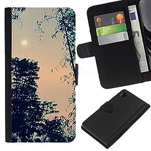 A-type (Evening Sky Moon Trees Night) Colorida Impresión Funda Cuero Monedero Caja Bolsa Cubierta Caja Piel Card Slots Para Sony Xperia Z2 D6502