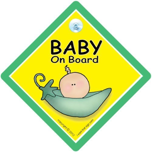 BABY iwantthatsign.com Peapod, Car Safety Sign, Green Pea Pod, Maternity, Unisex Car Sign, Maternity, Bumper Sticker, Decal, Grandchild On Board