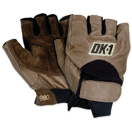 OK•1 GLV1027L Half Finger Impact Gloves, Large, Brown by OK•1