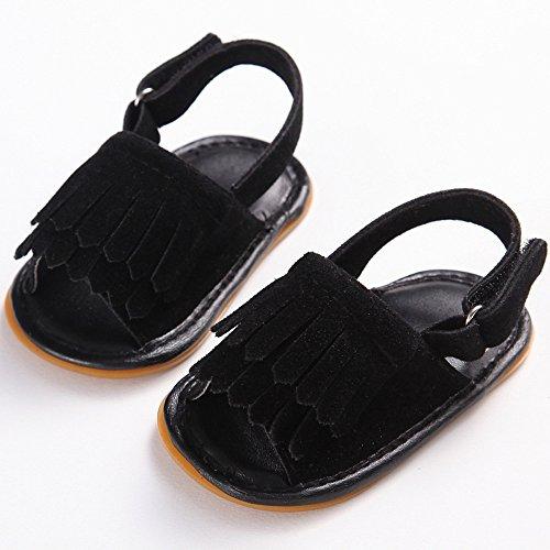 Amcool Baby Schuhe Neugeboren Infant Krippenschuhe Anti-slip Krabbelschuhe Sandalen Schwarz 1