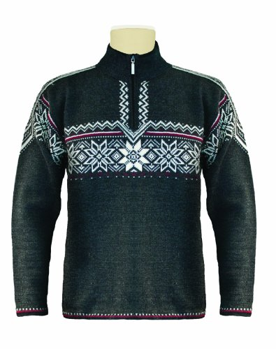 Dale of Norway Men's Holmenkollen Sweater, Dark Charcoal/Off White/Red Rose, - Norway Dale Mens Sweater