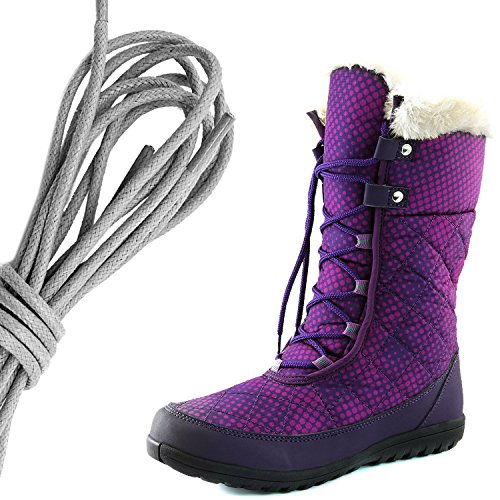 Dailyshoes Confort Des Femmes Bout Rond Mi-mollet Cheville Plat Haute Eskimo Fourrure Dhiver Bottes De Neige, Points Gris Pourpres