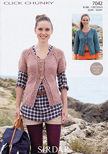 Sirdar Click Chunky - Sirdar Ladies Cardigans Click Knitting Pattern 7042 Chunky