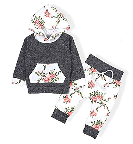 Layettes Two Piece - Popshion Baby Girls Floral Hoodie+ Floral Pant Set Leggings 2 Piece Outfit