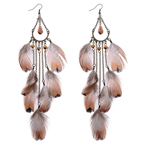 Dangling Handmade Earrings (Handmade Feather Elements Womens Dangling Earrings(HQE259))