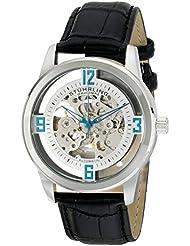 Stuhrling Original Mens 877.01 Winchester Automatic Self-Wind Skeleton Black Genuine Leather Strap Watch