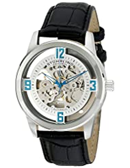 Stuhrling Original Men's 877.01 Winchester Automatic Self-Wind Skeleton Black Genuine Leather Strap Watch