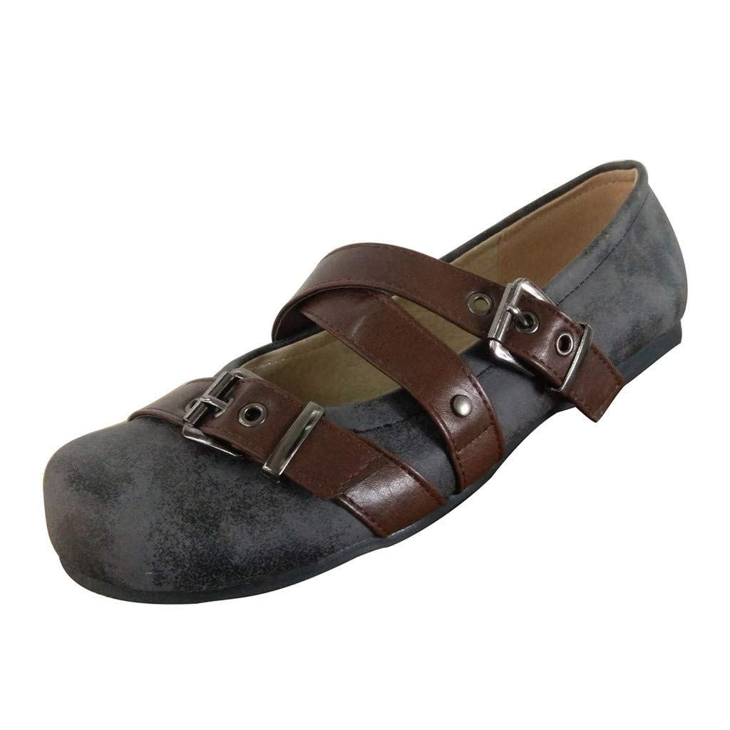 Shusuen Women's Casual Suede Mary Jane Slip-on Flat Dance Shoes Gray by Shusuen_shoes