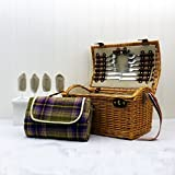 4 Person Fitted Hadleigh Wicker Picnic Hamper Basket with Accessories and Traditional Style Purple Blanket - Gift Ideas for Mum, Valentines, Mothers Day, Birthday, Wedding, Anniversary, Business and Corporate