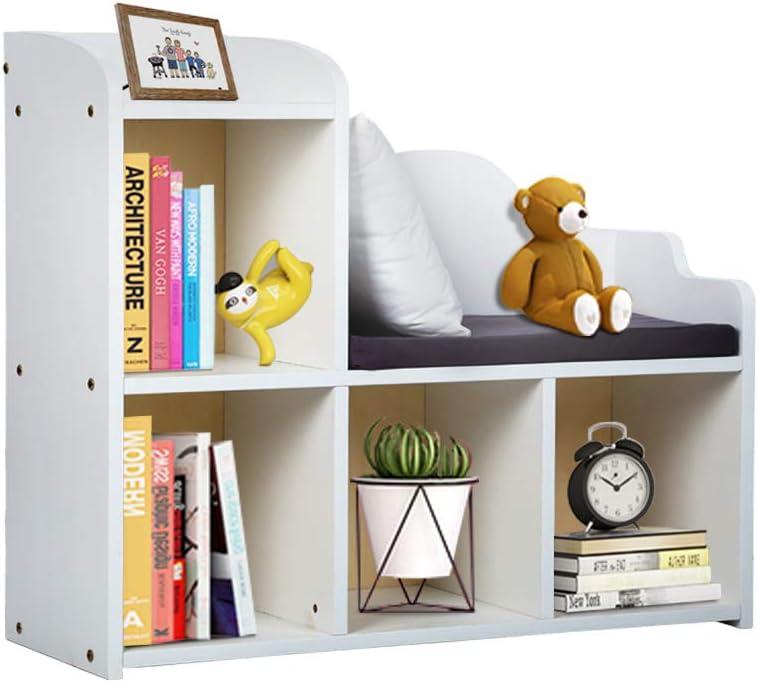 N\A Bookshelf for Kids with Cushion Reading Nook, White Bookcase for Kids, Kids Cube Storage Organizer for Children's Bedroom, Bookshelf Storage White, Closet Organizer Storage Shelf