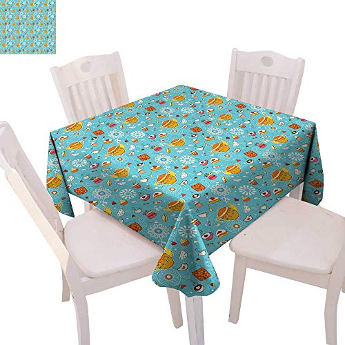 cobeDecor Tea Party Stain Resistant Wrinkle Tablecloth Drawing Style Lovely Elements Floral Motifs and Cute Birds Muffins Latte Square Wrinkle Resistant Tablecloth 50