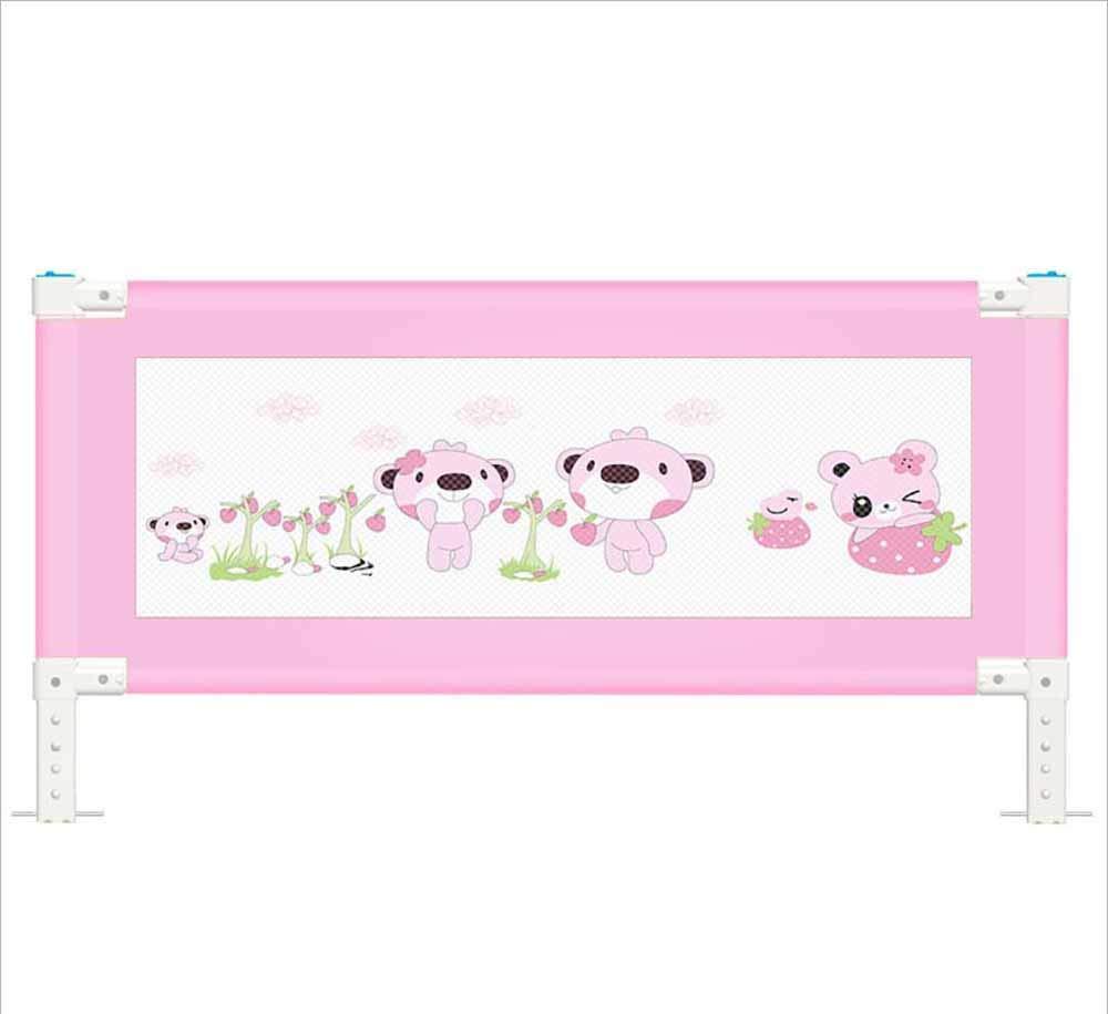 TX ZHAORUI Krippenschutz für babybruchbeständige Schallschutz-verstellbare Höhe Kinderbettschütze rosa Last 110 Pfund,200cm