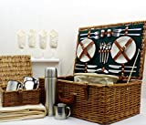 The Chelsea 4 Person Luxury Picnic Basket Set includes many Accessories - Gift ideas for Black Friday, Cyber Monday, Christmas presents, Birthday, Wedding gifts, Anniversary