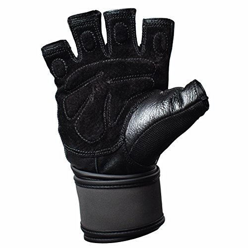 Pair Harbinger Training Grip Wristwrap Weightlifting Gloves with TechGel-Padded Leather Palm