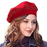 LADYBRO Top Rhinestones Double Layers Wool Winter Berets Knitted Hats for Women Caps (Burgandy)