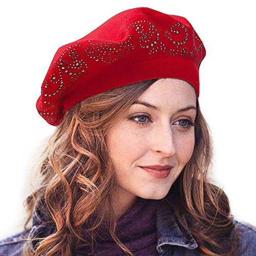 LADYBRO Top Rhinestones Double Layers Wool Winter Berets Knitted Hats For Women Caps (Red)