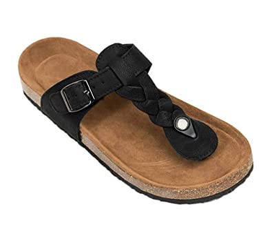 3298f51ea66297 Image Unavailable. Image not available for. Color  Syktkmx Womens T Strap Flip  Flops Slip on Thong Braided Platform Buckle Cork Flat Sandals