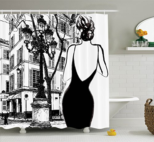 Ambesonne Paris City Decor Collection, Young Elegant Woman in a Black Dress in Paris Street Old Building Facade Cityscape, Polyester Fabric Bathroom Shower Curtain Set, 75 Inches Long, Black and White