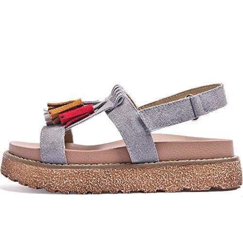 SOHOEOS Nuevo toe estudiante zapatos con Velcro Señoras la para joven plataforma Open señoras Gris Sandalias verano Mujer Vintage plataforma fqfxrX