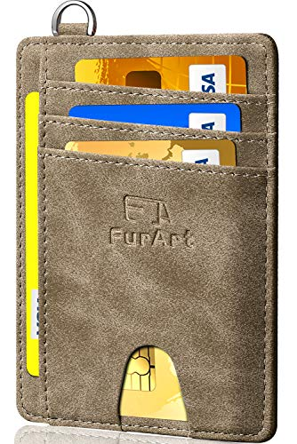 Hooked Coin - FurArt Slim Minimalist Wallet, Front Pocket Wallets, RFID Blocking, Credit Card Holder with Disassembly D-Shackle