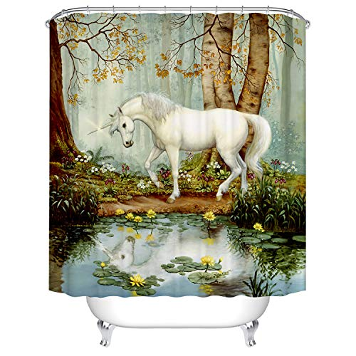 Mystic House Décor Shower Curtain, Country Vintage White Horse by Lake Forest Trees Yellow Lotus Flower Décor Nature Scenery Bathroom Décor, Fantasy Fabric Bath Shower Curtain Washable, 72 inch Long
