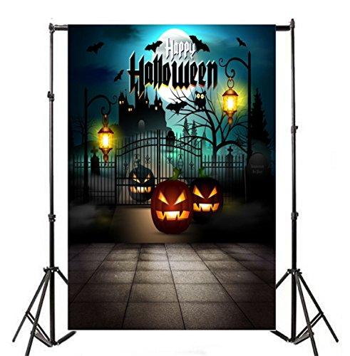 Baocicco Halloween Backdrop Moon Night Haunted House 5x7ft Vinyl Photography Background Grimace Pumpkin Old Lantern Flying Bats Happy Halloween Costume Party Photo Shooting Studio -