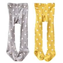 CHUNG Baby Toddler Girls Cotton Footed Tights 0-4Y 2 Pack Star Print
