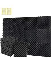Paquete de 12 paneles de espuma acústica de 30,5 x 30,4 cm x 30,4 cm x 30,4 cm x 30,4 cm, paneles acústicos para la oficina en casa con cinta adhesiva de doble cara (30,4 x 30,4 x 30,4 cm, negro)