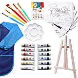 Watercolor Paint Set | Kids 27 Piece Art Kit with 5 Paint Brushes | 12 Washable Paint | Tabletop Easel | 8x10 Canvases for Painting Pre Drawn & Bonus Art Smock Palette and Color Mixing Chart