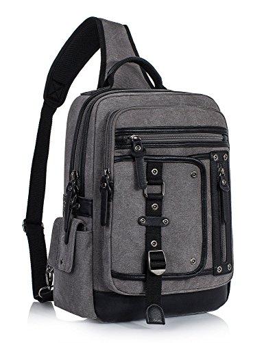 (Leaper Fashion Messenger Bag Sling Bag Outdoor Cross Body Bag Shoulder Bag Gray)