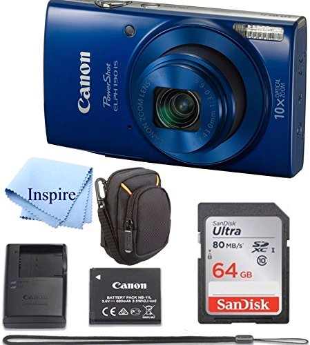 Canon PowerShot ELPH 190 Digital Camera COMPLETE BUNDLE w/10x Optical Zoom and Image Stabilization Wi-Fi & NFC Enabled + ELPH 190 Case + SD Card + USB Cable +64 GB MEMORY Review