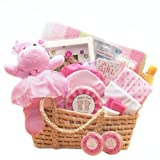 Sweet Baby Girl Gift Basket in Moses Carrier -Pink Deluxe
