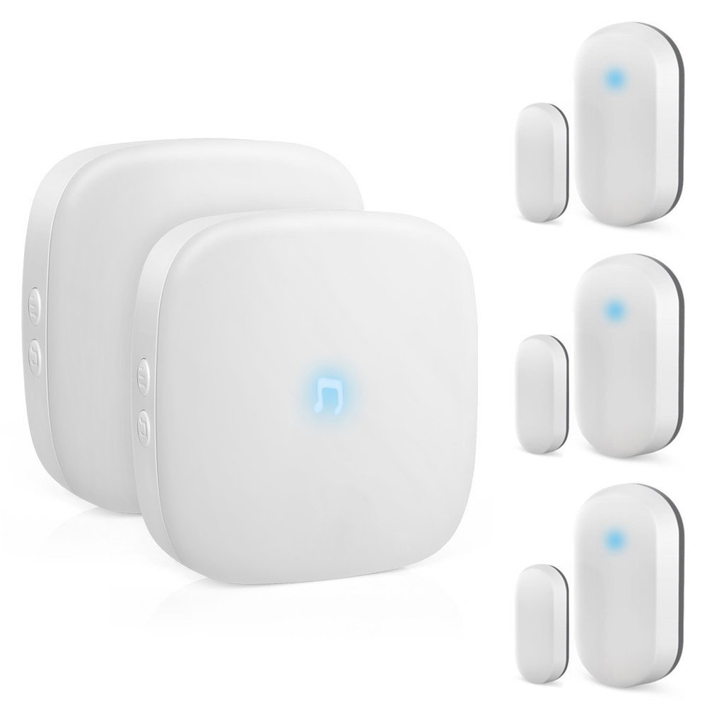 ELEPOWSTAR Wireless Doorbell, Waterproof Security Alarm Door bells Chime Kit Operating at 320 Feet Range,No Batteries Required for Receiver over 52 Chimes,2 Receivers and 3 Magnetic Door Sensors