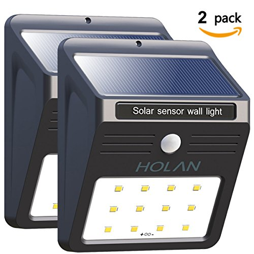 Mulcolor 12 LED Solar Lights Waterproof Solar Powered Motion Sensor Light Wireless Led Security Lights Outdoor...