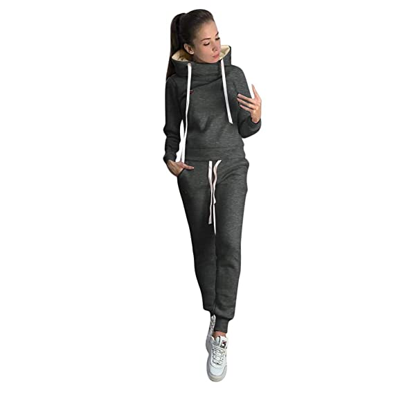 Tracksuit Set for Women 2 PCS Sweatsuits Outfits Hoodie Sweatshirt Pullover Tops Jogging Sweatpants Suit for Girls