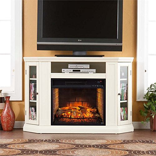 Brick Fireplace Stand (Southern Enterprises Claremont Corner Fireplace TV Stand in Ivory)