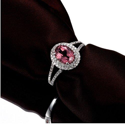 GOWE 14K White Gold Natural 1.82ctw Pink Tourmaline & Diamond Engagement Ring 1