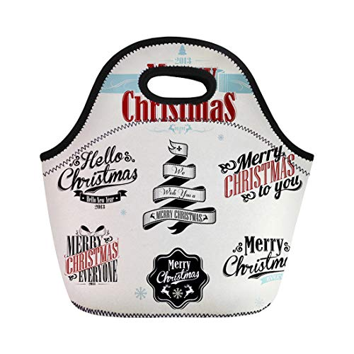 4c25c1f1077c Semtomn Lunch Bags Santa Retro Vintage Christmas Victorian Xmas Snowflake  Holiday Scroll Neoprene Lunch Bag Lunchbox Tote Bag Portable Picnic Bag ...