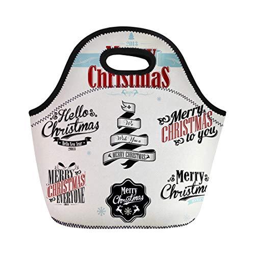 294192710fd2 Semtomn Lunch Bags Santa Retro Vintage Christmas Victorian Xmas Snowflake  Holiday Scroll Neoprene Lunch Bag Lunchbox Tote Bag Portable Picnic Bag ...