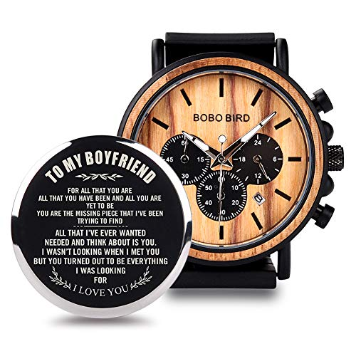 BOBO BIRD Mens Personalized Engraved Wooden Watche, Stylish Wood & Stainless Steel Combined Quartz Casual Wristwatches for Men Family Friends Customized Gift (A-for Boyfriend)