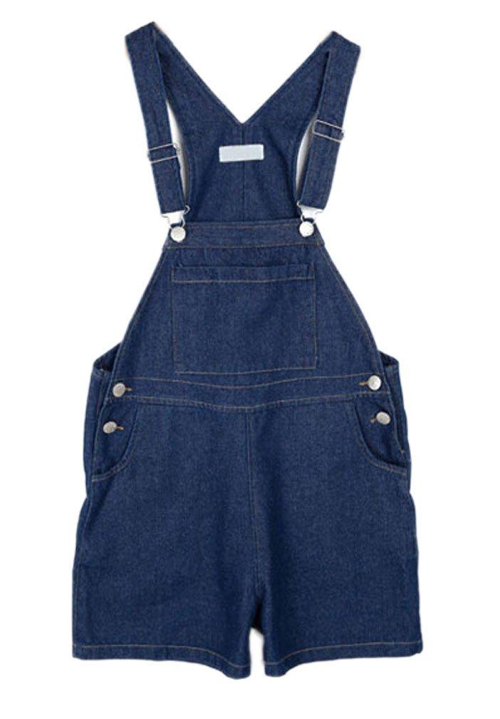 Soojun Women's Casual Straight Denim Bib overlls Shorts Plus Size Jeans, Denim Blue, X-Large