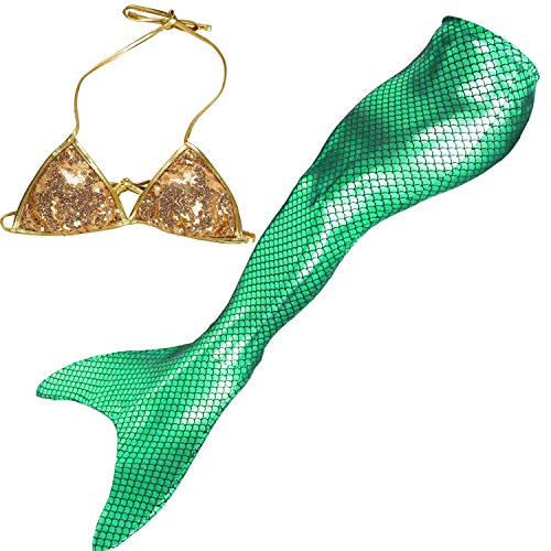 Mermaid Tails for Swimming Adult Womens Bikini Set Swimsuit with Monofin Swimmable Mermaid Party Dress Costumes (Adult-L/Hip 28.35