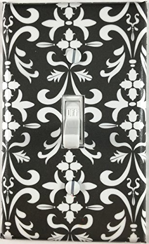 Damask Light (White Black Damask Single Decorative Single Toggle Light Switch Plate)
