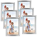 LaVie Home 5x7 Picture Frames (6 Pack, Silver) Simple Designed Photo Frame with High Definition Glass for Wall Mount & Table Top Display, Set of 6 Classic Collection