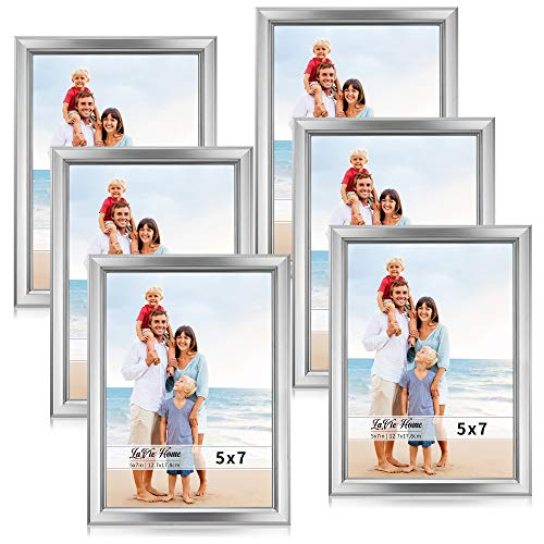 Silver Wedding Photo - LaVie Home 5x7 Picture Frames (6 Pack, Silver) Simple Designed Photo Frame with High Definition Glass for Wall Mount & Table Top Display, Set of 6 Classic Collection