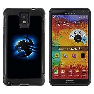 Suave TPU Caso Carcasa de Caucho Funda para Samsung Note 3 / Blue Cougar / STRONG