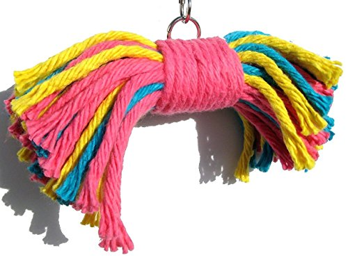 Big Birdie Bow Tie Bird Toy - Perfect Cage Toy for Playing and Preening - Colorful, Safe, Cotton Rope - Great for Medium to Large Sized Birds - Easy to Install - Fully Engaging Activity for Your Bird