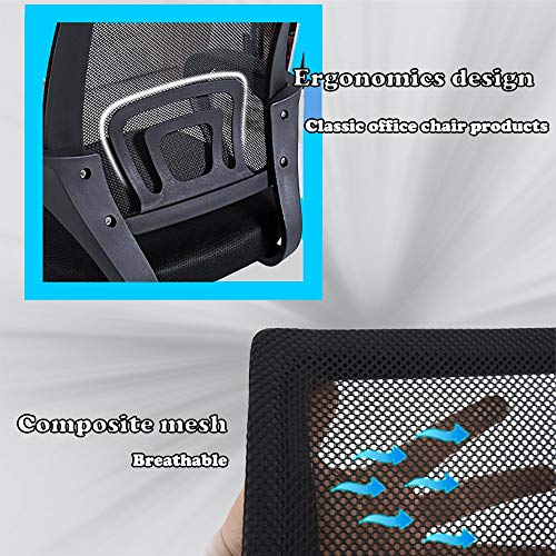 Office Chair Ergonomic Cheap Desk Chair Mesh Computer Chair Lumbar Support Modern Executive Adjustable Stool Rolling Swivel Chair for Back Pain, Black